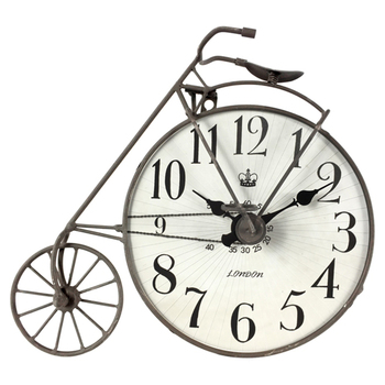 Table Clock Industrial Big Rustic Punched Metal Bicycle Clock Buy