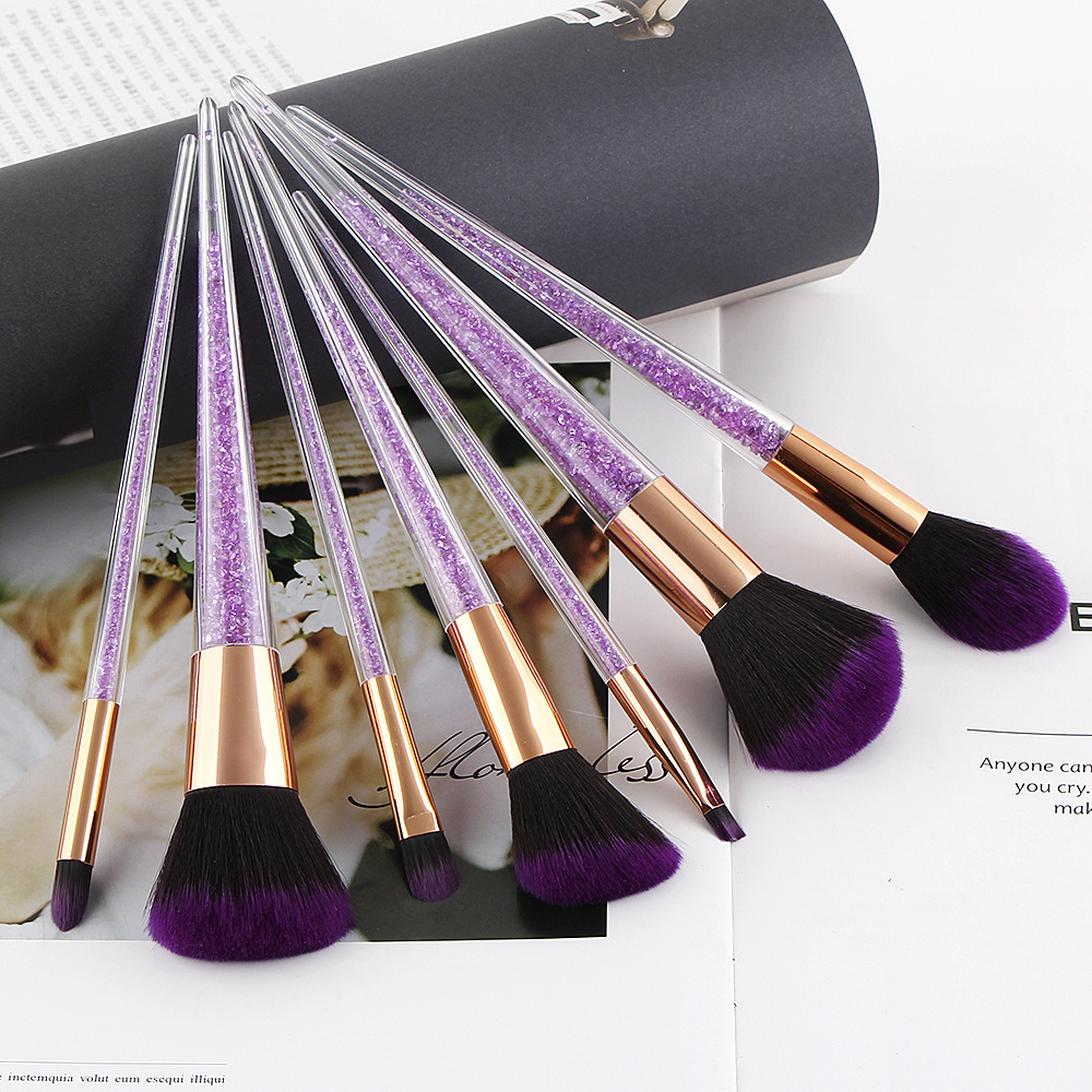 7 PCS make-up pinsel glitter kosmetik pinsel weiche haar make-up werkzeuge lila foundation set