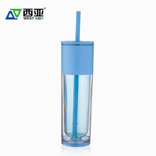 Double wall drinking water disposable hard plastic lid tumbler cup with straw