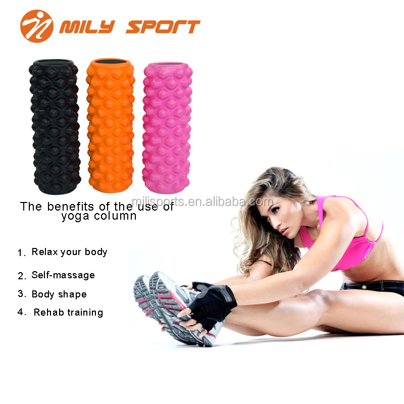 36*13cm Pink ab massage EVA foam yoga roller exercise wheel home fitness gym