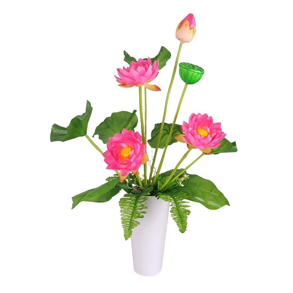 Cheap lotus wedding decoration bandung find lotus wedding get quotations 1 bouquet silk green leaf plant mini artificial lotus flower desktop vase decor home office wedding izmirmasajfo