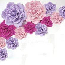 Giant Paper Foam Rose Flowers Roses 13pcs Mixed Sizes Stage Wedding Party Event Background Table Decorations decoracao de festa