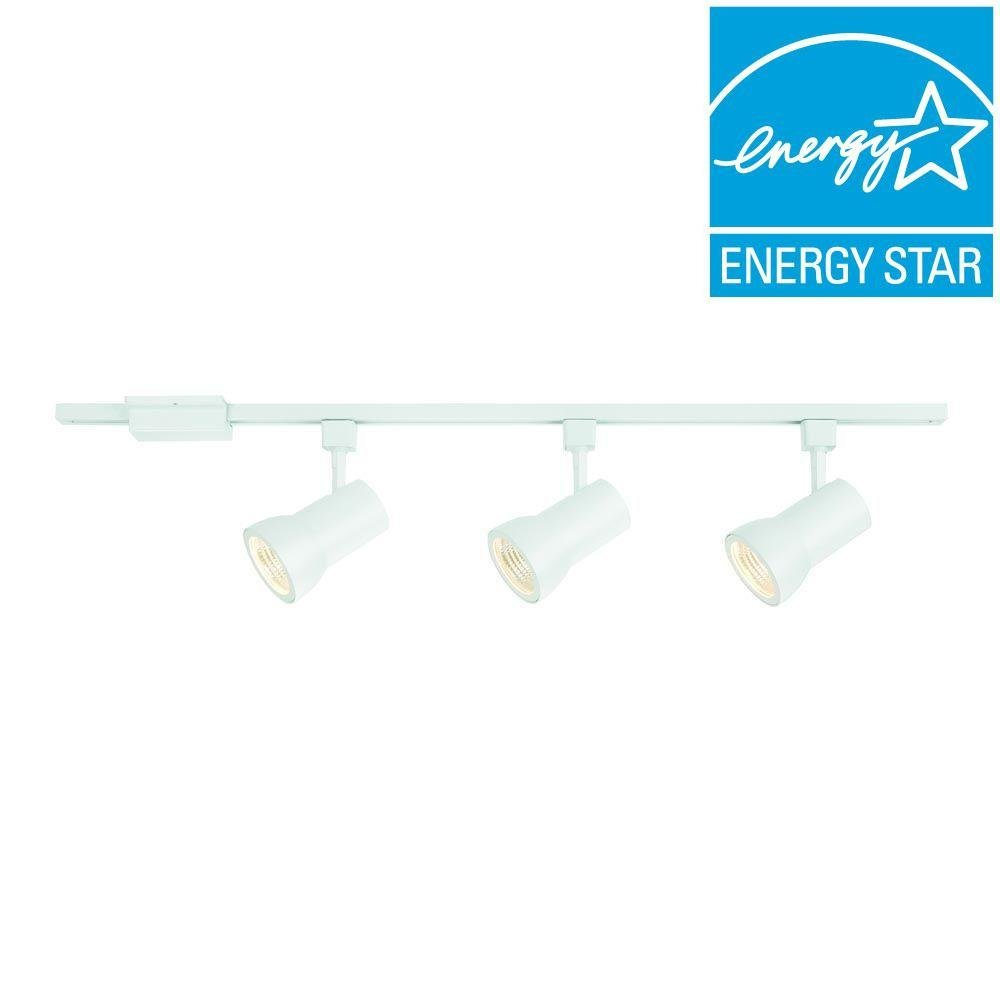Hampton Bay 44 in. 3-Light White Integrated LED Track Lighting Kit with Large Cylinder Metal Shades