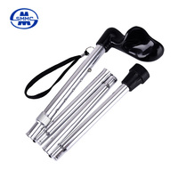 Old man used height adjustable folding walking sticks with rubber tips