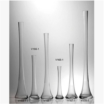 Long Neck Clear Glass Flower Vase For Home Decoration