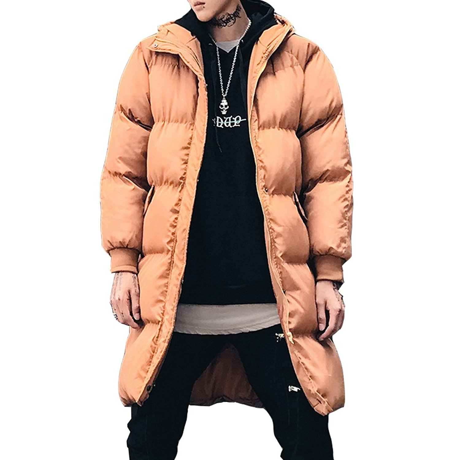Hzcx Fashion Men's Cotton-Padded Quilted Loose Puff Winter Thick Coats With Hood