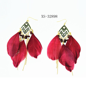 Fashion Bohemian Tassel earrings Indian Ethnic Jewels Natural Feather earrings for Women