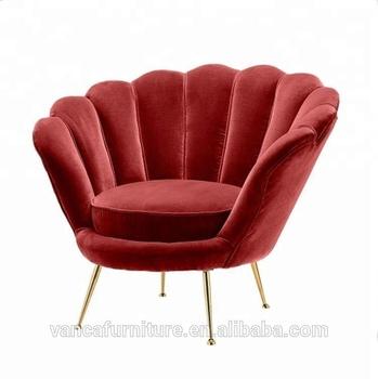 Red Velvet Fabric Flower Shape Lounge Leisure Chair Buy