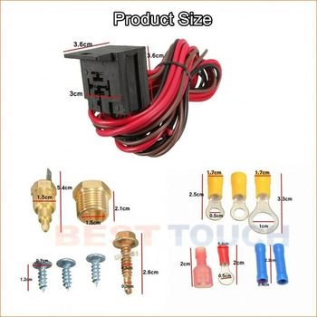 "Model 5-210195 210 to 195 degree electric cooling fan thermostat wiring install kit 3/8"" npt complete relay switch"
