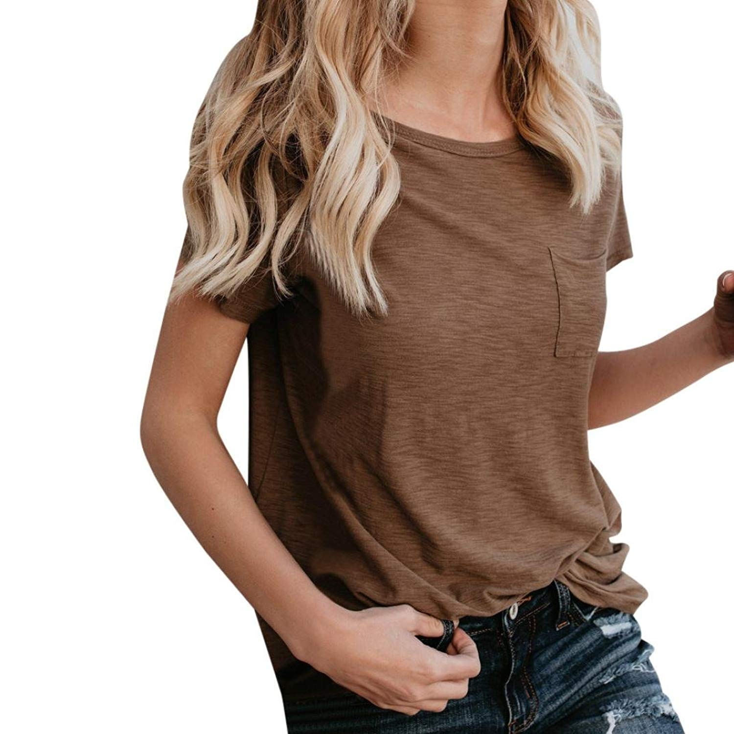 660b295403 Get Quotations · Tootu Women's Short Sleeve High Low Loose T Shirt Tee Tops  Loose Pure Hole Pocket Crop