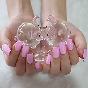 24pcs/kit Long Candy Fake Nails Light Princess Pink Nail Art Decoration Tips Carnival Sweet Press-On Nails 008M