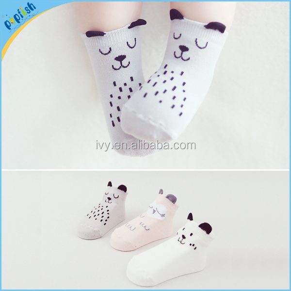 China wholesale 3colors animal styles cotton fuzzy 0-4year baby socks antislip