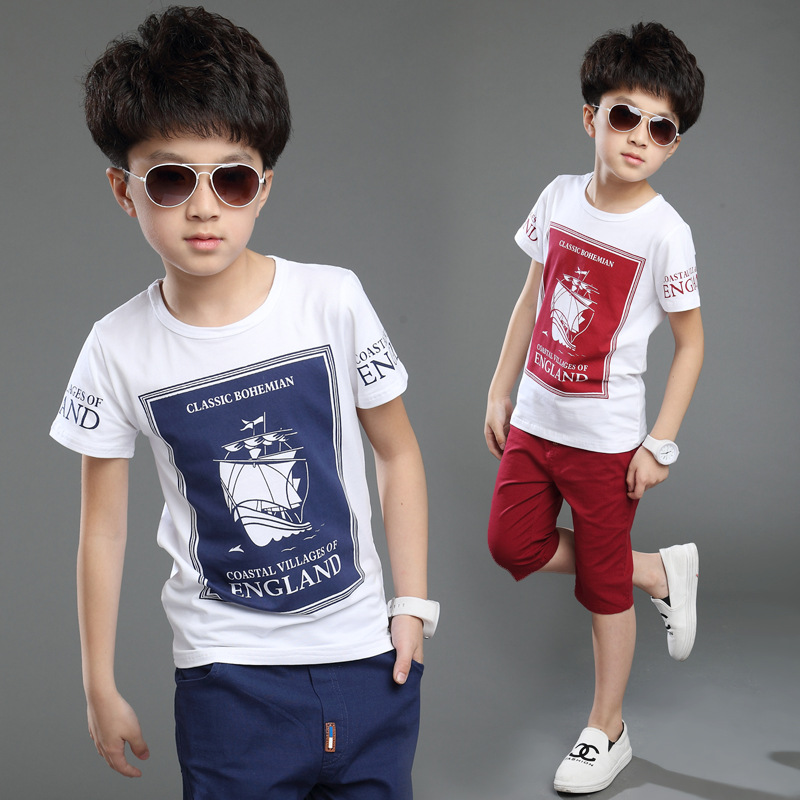 2016 New Hot Sale Summer Kids Boys T Shirt Shorts Set Children Short Sleeve Shirt Boys