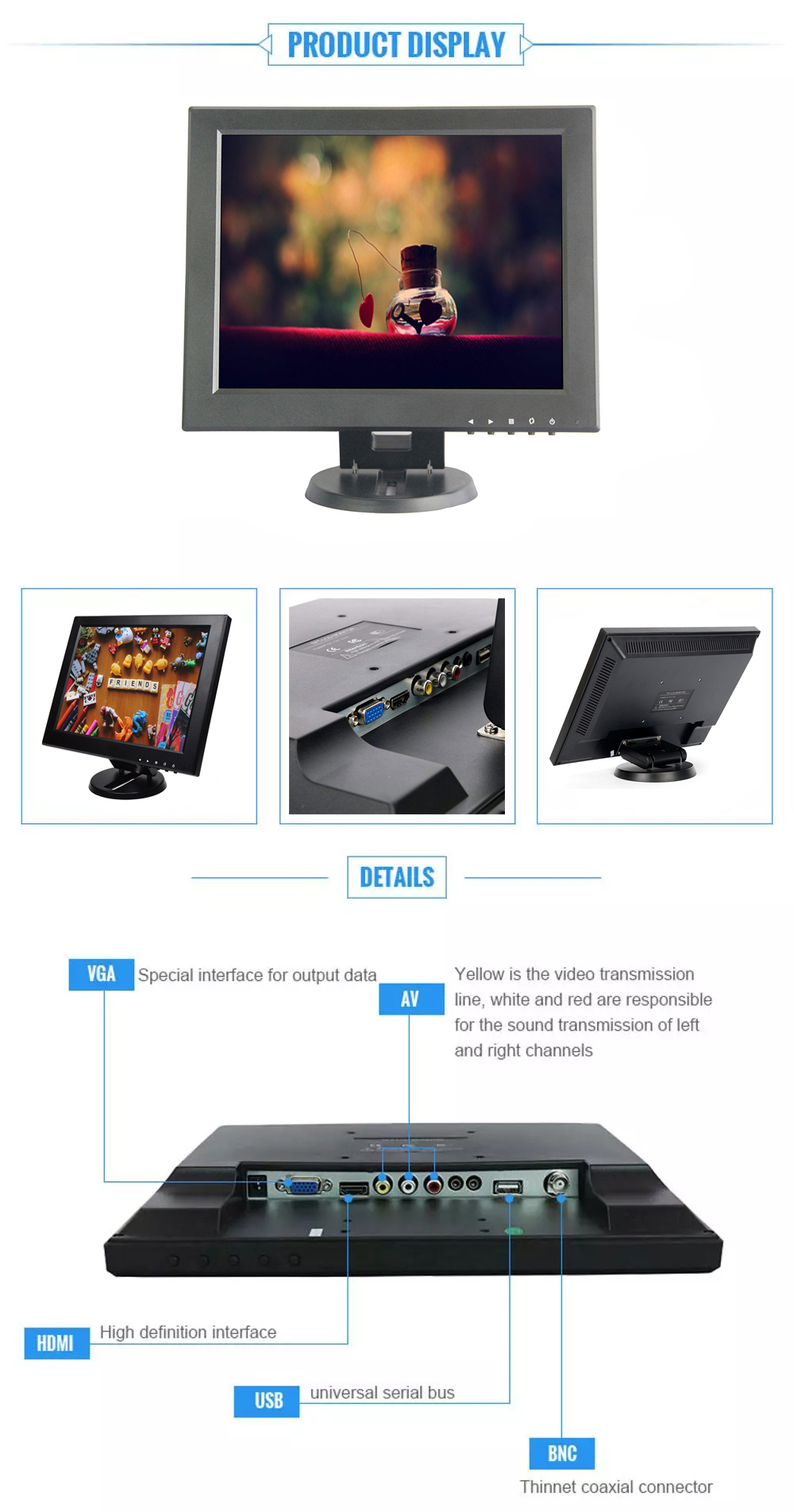 12 inch square vandal proof lcd monitor 12'' tv lcd monitor 12 inch tft lcd monitor for Surveillance Security