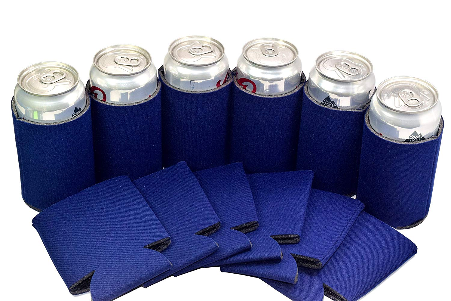 QualityPerfection 12 Navy Blue Blank Can Cooler Sleeve, Coolie For Can,Beer,Soft Drink,Economy Bulk,Collapsible Insulator,Good 4 Wedding,Parties
