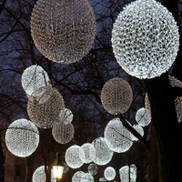 Outdoor 3D commercial lighted Christmas light spheres LED lighted tree ornament for hanging decoration