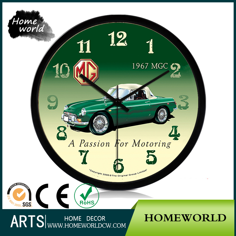 Green Car Design Bright Colorful Easily Learn Children Print Wall Clock