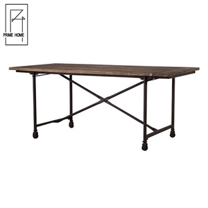 Rustic Oak Wood Top Quality Metal Base Folding Compact Dining Table Set