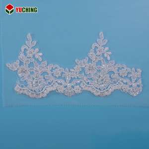 YNF87346 Custom made elegant embroidered sequins beaded white lace