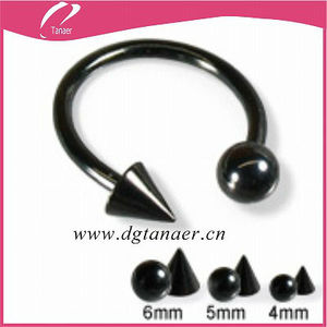 16 G high quality with round and cone ball black plating machine cbr circular barbell jewelry