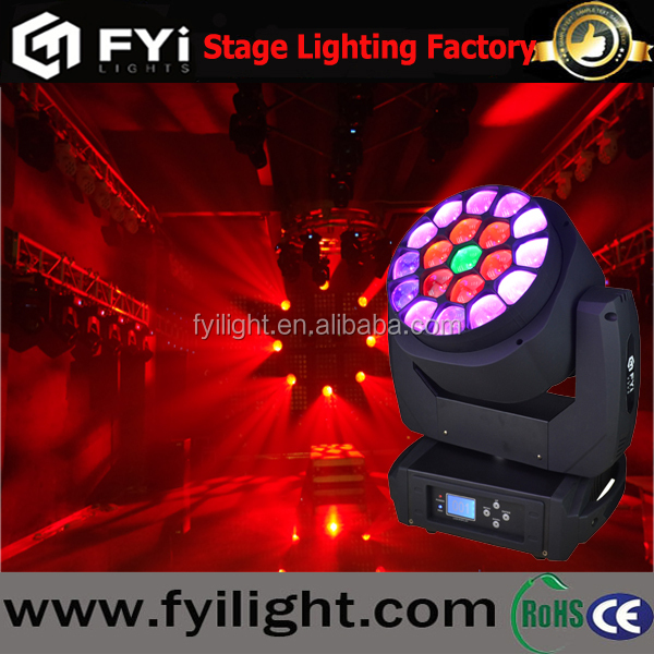 Stage led zoom clay paky bee eye beam 19X15w rgbw 4in1 wash big b-eye moving head light