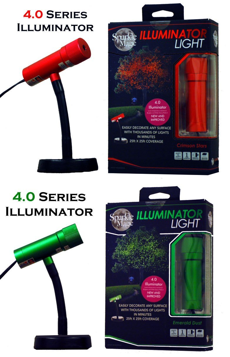 Yard Illumination/ Sparkle Magic Illuminator Holiday 2 Light Set (Red & Green 4.0 Series Illuminators) with Connector Cable & 15' Extension Cable