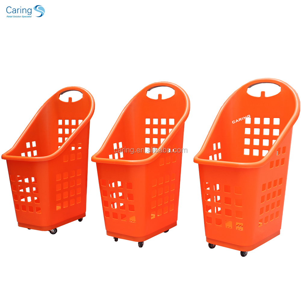 Shopping basket plastic trolley basket supermarket basket with wheels