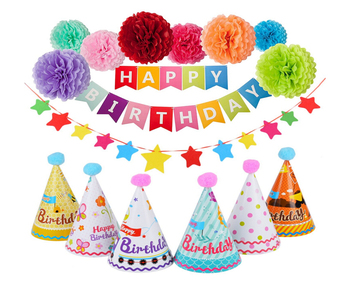Birthday Party Decorations 8 Pcs Tissue Paper Poms With Happy Banner Star And 6