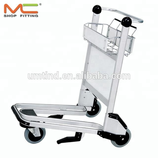 3 wheels Aluminum Alloy Airport luggage trolley, airport cart