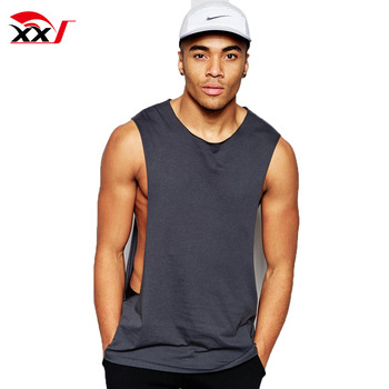 09ff0321690df fitness wear men open side tank top blank drop armhole tank top low cut  tank tops