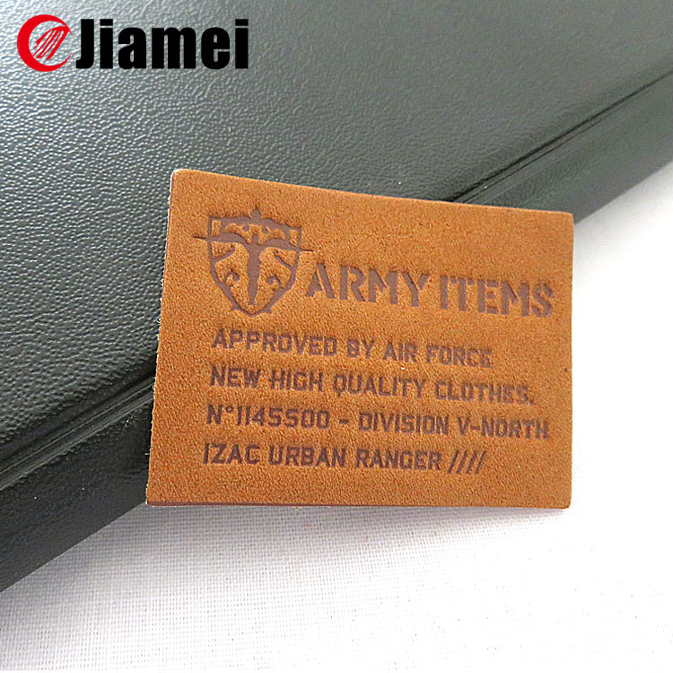 Factory OEM jeans leather label custom branded embossed leather patch