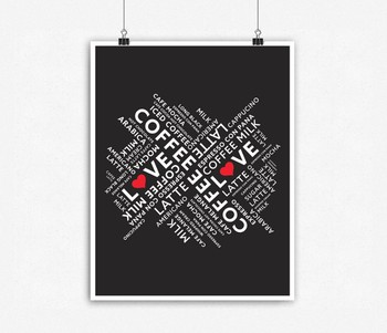 Coffee Typography Wall Decor Poster Print Set Of 4