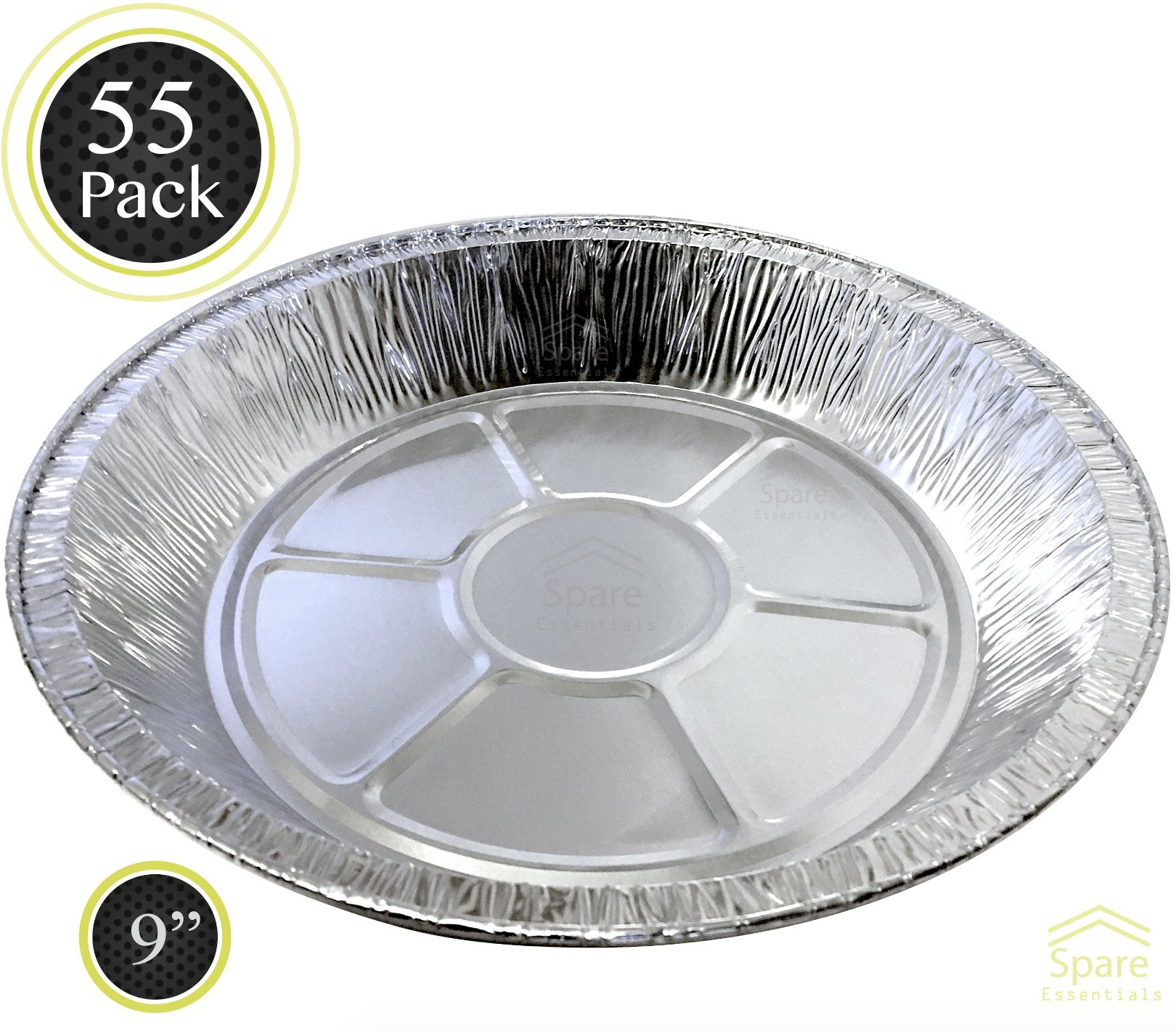 55 PACK - Prime Pie Pans. Ideal for Tasteful Cakes and Pies. Sturdy Aluminum Foil Pans. Disposable Tin Plates for Tart / Pie – SIZE 9''