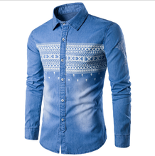 2018 New design men printed washed denim casual shirt , cowboy shirt