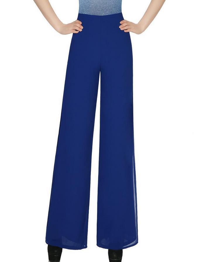3c499b4d95c9 Get Quotations · 2015 summer women wide leg side split chiffon pants  pantalon femme Ladies high waist blue solid