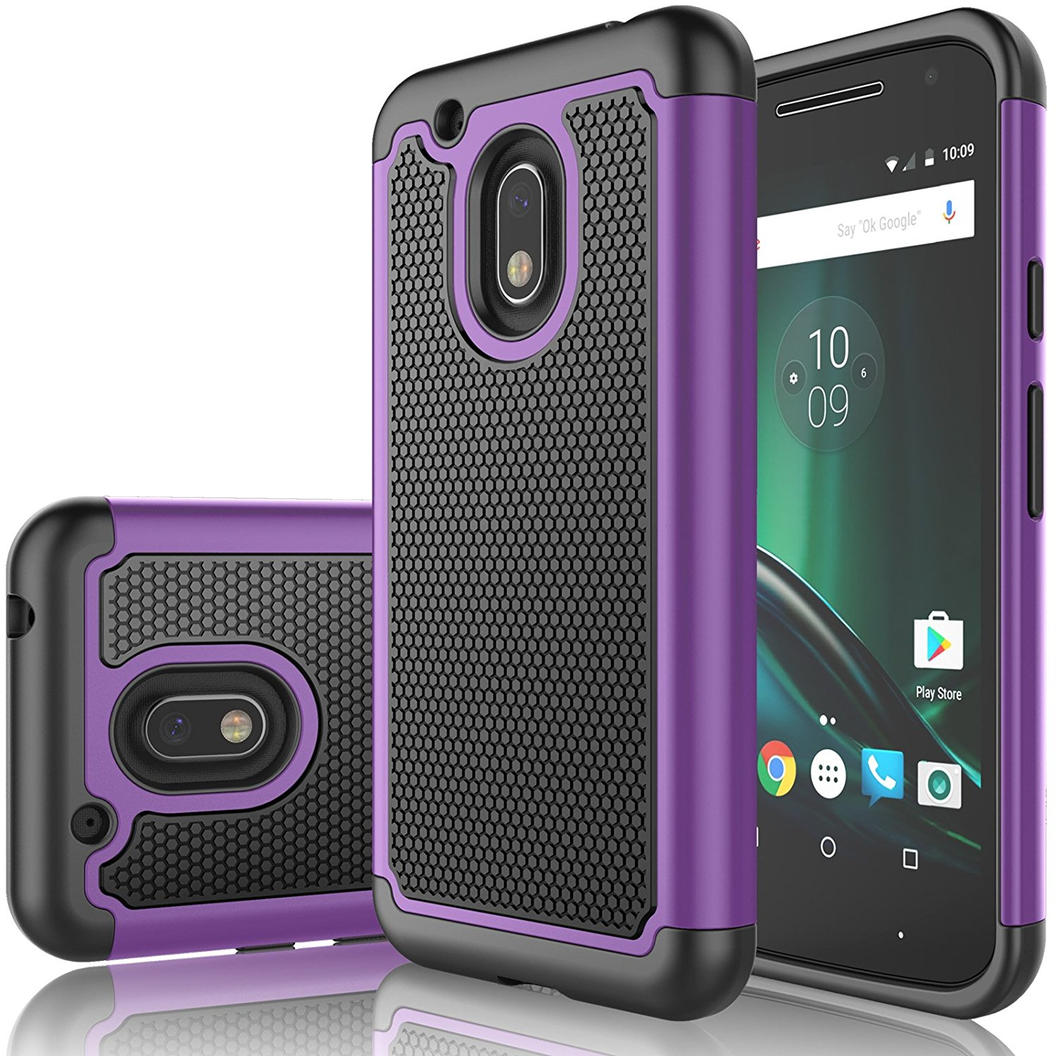 Moto G4 Play Case, Moto G Play Case For Girls, Tekcoo [Tmajor] Shock Absorbing Rubber Plastic [Purple] Scratch Resistant Defender Bumper Rugged Slim Grip Hard Cover Cases For Motorola G4 Play XT1607