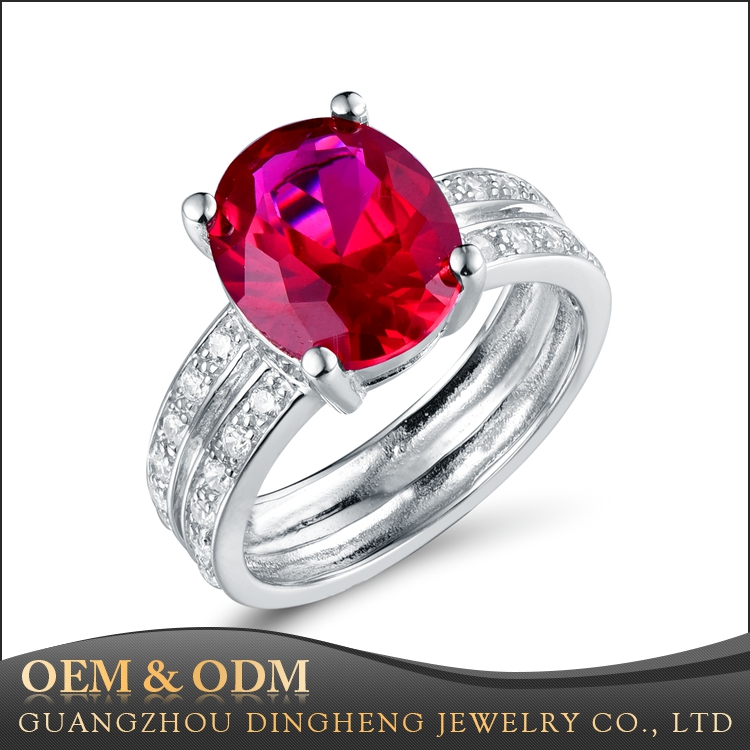Newest Style Fashion Jewelry Silver Rhinstone Lab Ruby Stone Two in One Ring For Lady