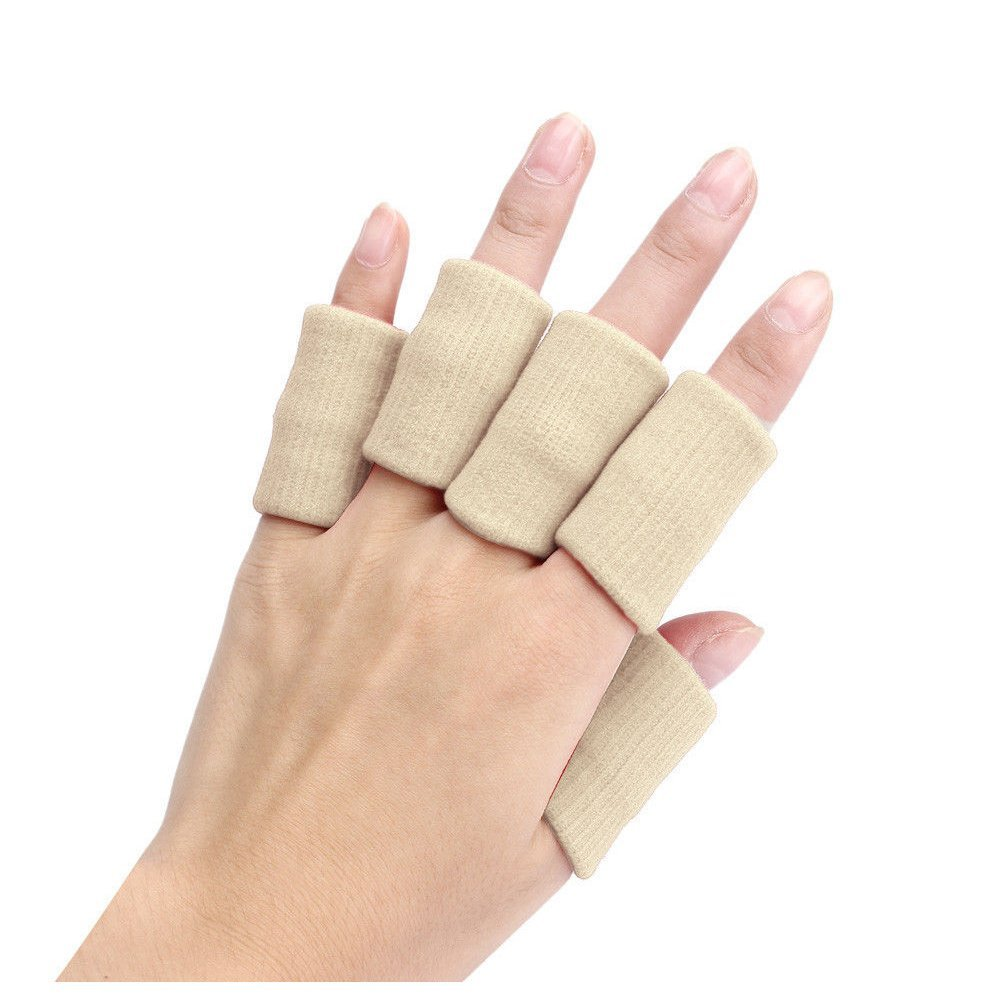 Finger Guard Sleeves - SODIAL(R)Portable 10pcs Stretch Sports Basketball Finger Guard Support Sleeves Protector beige