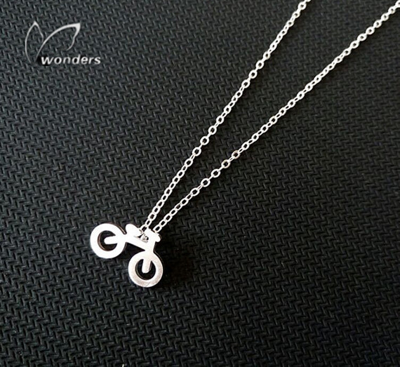 2016 Pedals In the Details Gold Silver Plated Tiny Bicycle Pendant Stainless Steel Chain Necklace Women Men Gifts Jewelry