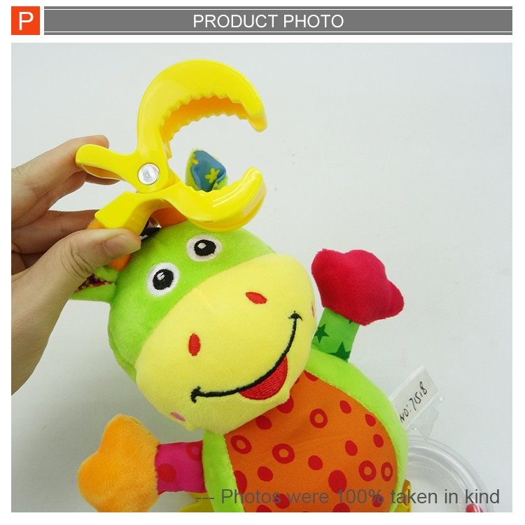 Super soft lovely cartoon animal plush baby rattle bell