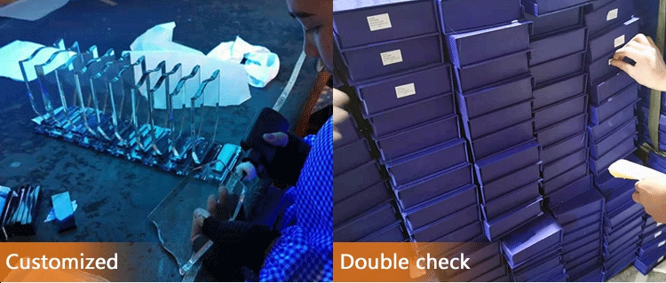 Commercio all'ingrosso 3d di cristallo premi e trofei dell'incisione con la stella di metallo
