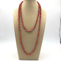 DIY jewelry material knotted natural red coral stone bead necklace