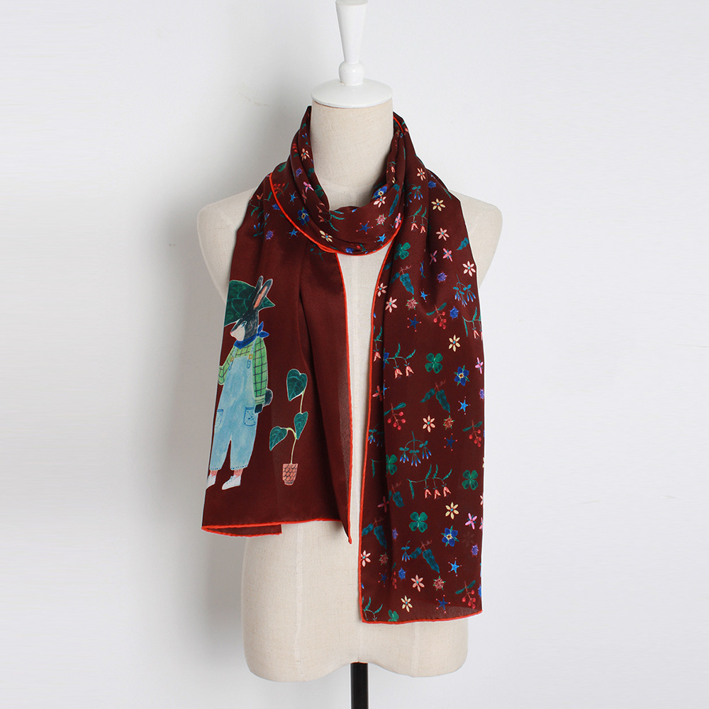 Red Print Silk Long Scarf for Woman