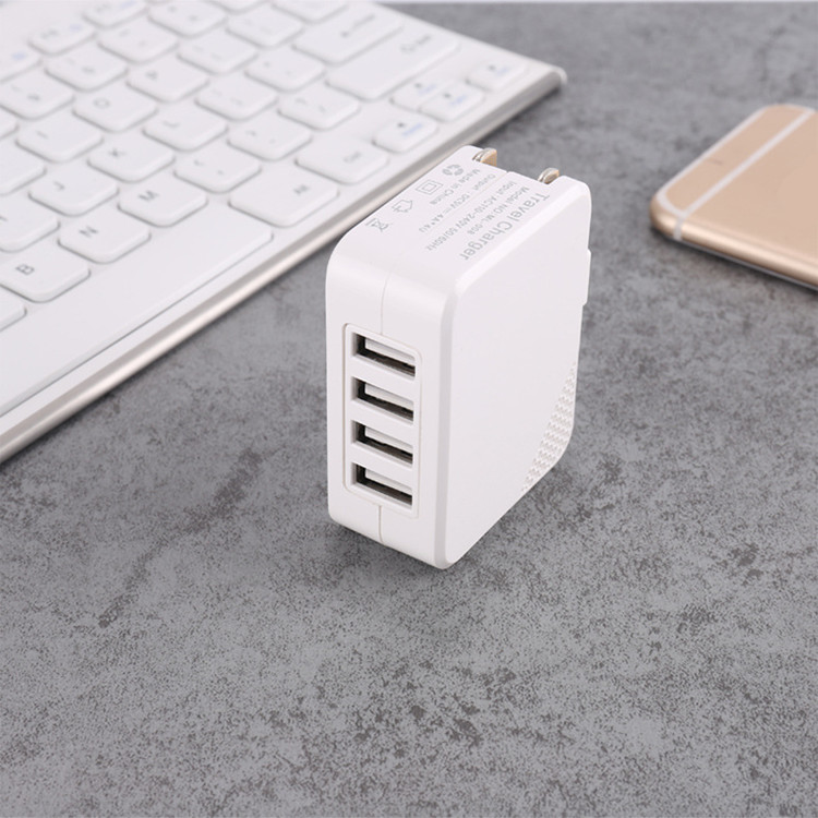 Factory Supply US/EU 5 V 4.2A White USB Wall Charger With Smart IC