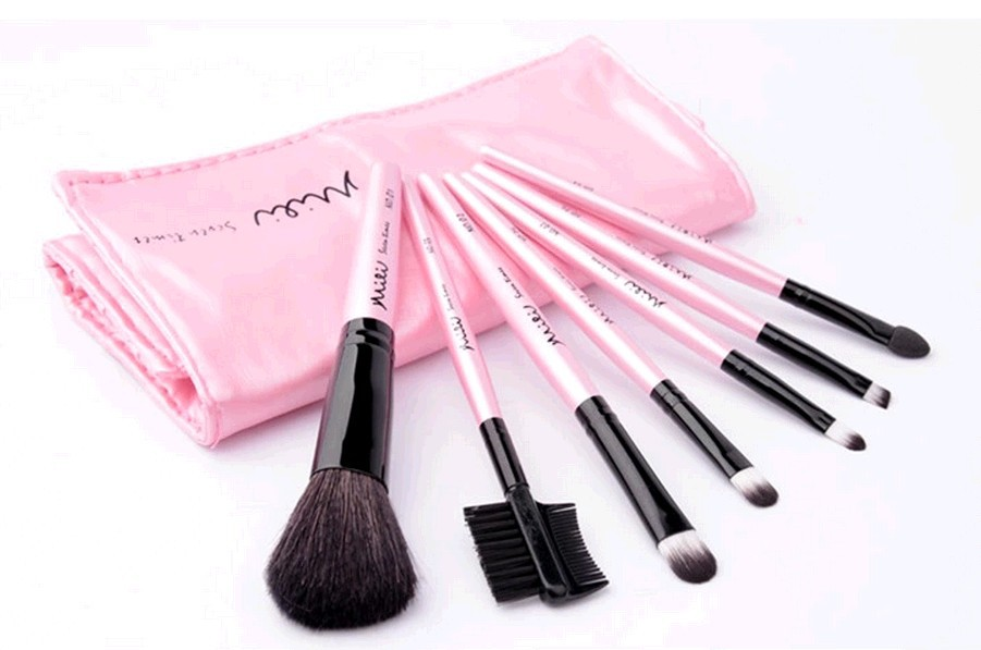 2014 New 7pcs/set Styling Tools Super Soft High Quality Makeup Brushes Set Kit Makeup Brushes With Pink PU Bag