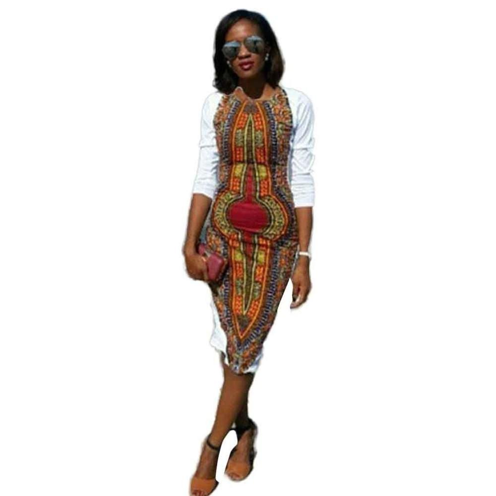Women Girls Fashion Dress Lady Female New Summer Casual Deep O-Neck Traditional African Print Party Dresses