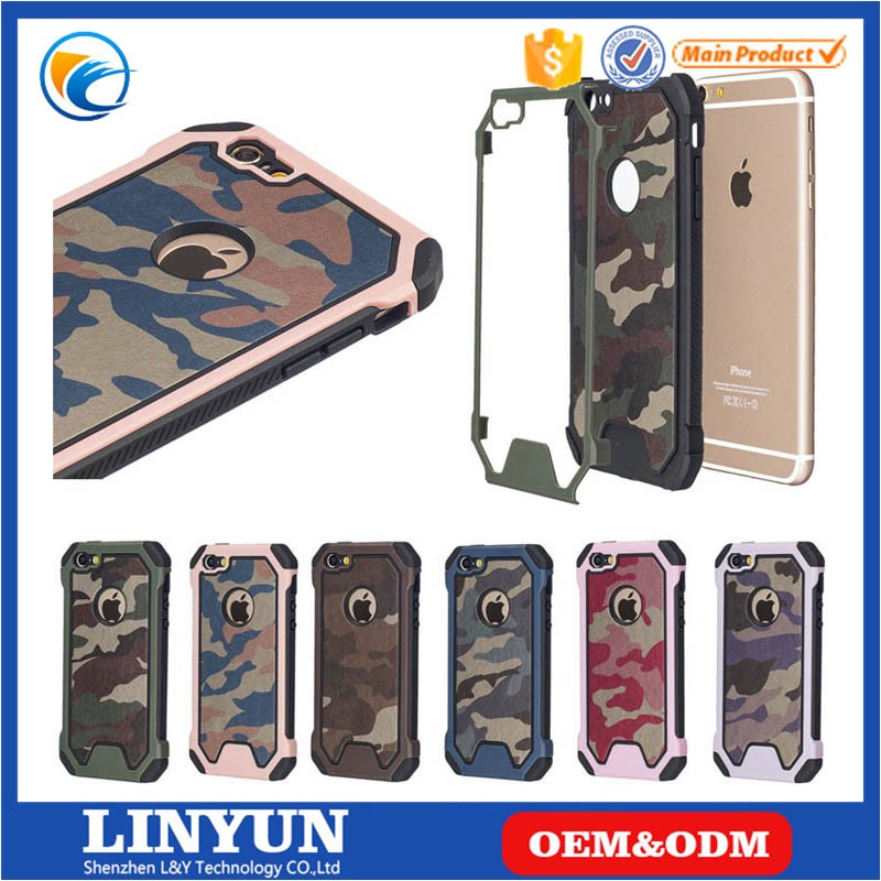 New Hot Selling High Quality 2 in 1 Camouflage PC+Silicone Back Case Cover for iPhone 6/6s