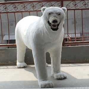 Rustic Christmas Decorations Large Plastic Polar Bear With Fur Surface