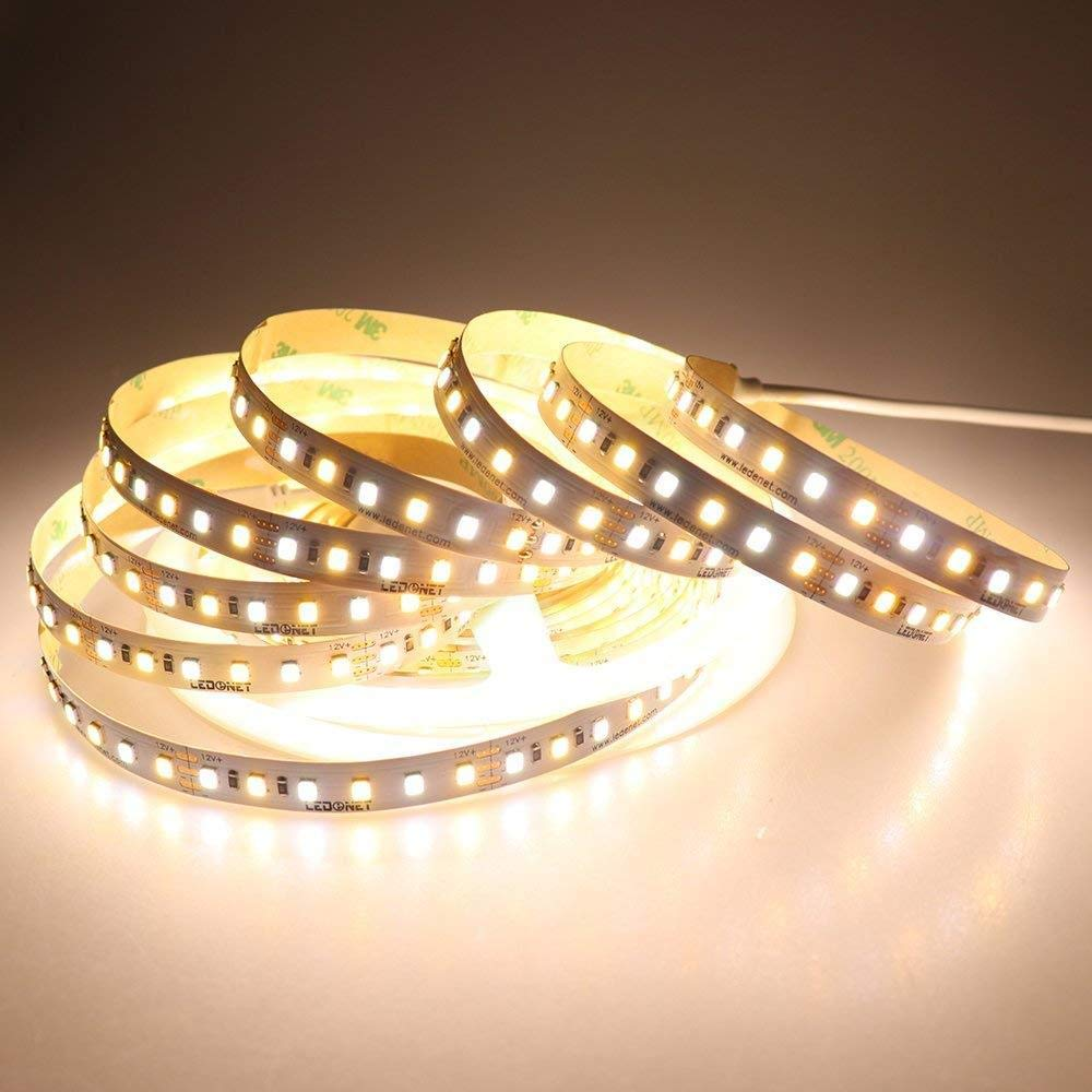 DC12V 5M 72W SMD2835 CCT Non-Waterproof Warm White+Pure White Dual Color Flexible 600LED Strip Light