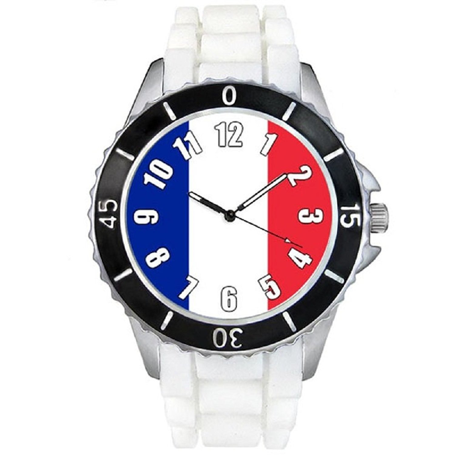 France Country Flag White Jelly Silicone Band Unisex Sports Wrist Watch